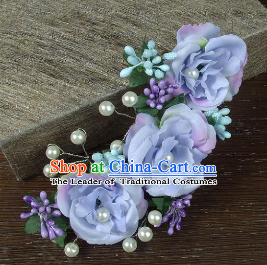 Top Grade Handmade Wedding Hair Accessories Headdress Lilac Silk Flowers, Baroque Style Bride Pearls Headwear for Women
