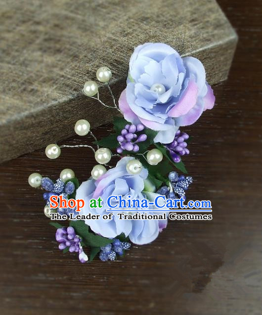 Top Grade Handmade Wedding Hair Accessories Blue Rose Flowers Headdress, Baroque Style Bride Headwear for Women