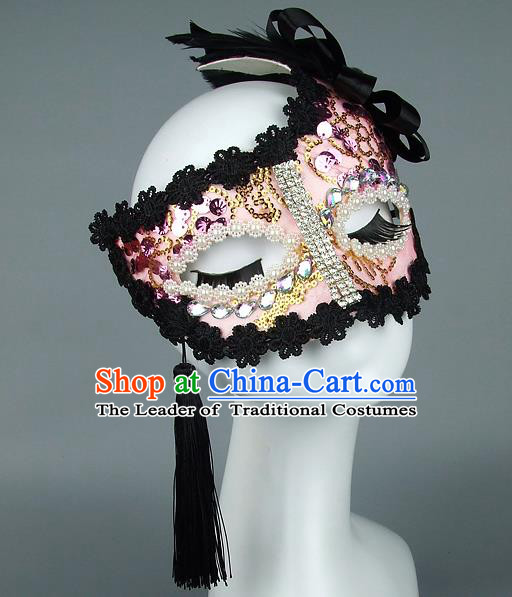 Top Grade Handmade Exaggerate Fancy Ball Model Show Lace Tassel Pink Mask, Halloween Ceremonial Occasions Face Mask