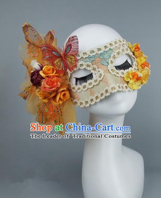 Top Grade Handmade Exaggerate Fancy Ball Model Show Veil Butterfly Mask, Halloween Ceremonial Occasions Face Mask