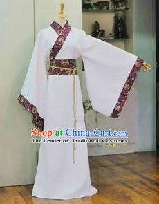 Asian China Ancient Han Dynasty Palace Lady Costume, Traditional Chinese Princess Hanfu Embroidered White Dress Clothing for Women