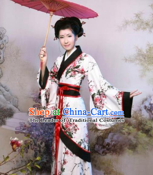 Traditional Ancient Chinese Palace Lady Hanfu Costume, Asian Chinese Han Dynasty Princess Dress Clothing for Women