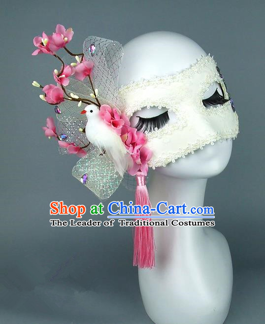 Top Grade Handmade Exaggerate Fancy Ball Accessories Peach Pink Flowers Pigeon Mask, Halloween Model Show Ceremonial Occasions Face Mask