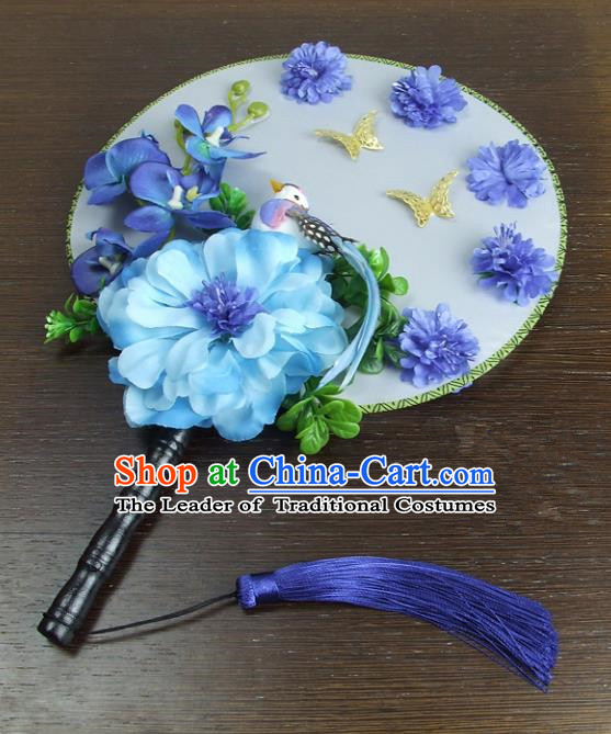 Traditional Handmade Chinese Ancient Wedding Blue Flowers Butterfly Round Fans, Hanfu Palace Lady Bride Xiuhe Suit Mandarin Fans for Women