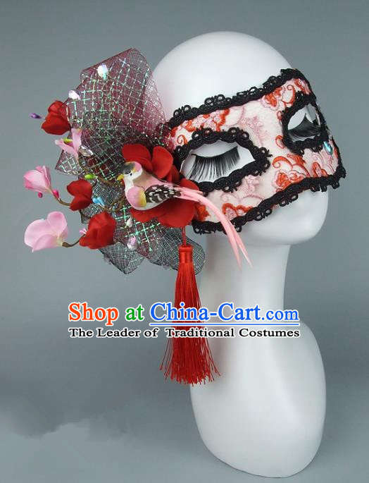 Top Grade Handmade Exaggerate Fancy Ball Accessories Red Lace Bowknot Mask, Halloween Model Show Ceremonial Occasions Face Mask
