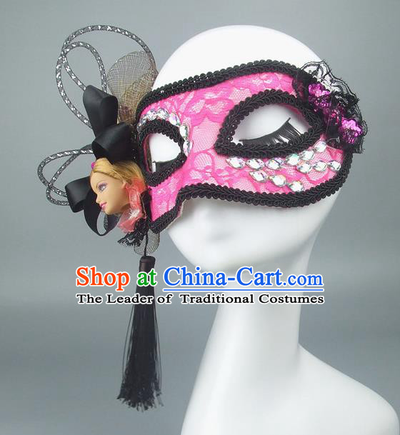 Handmade Halloween Fancy Ball Accessories Crystal Mask, Ceremonial Occasions Miami Model Show Pink Lace Face Mask