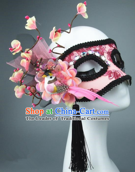Handmade Halloween Fancy Ball Accessories Pink Flowers Mask, Ceremonial Occasions Miami Model Show Face Mask