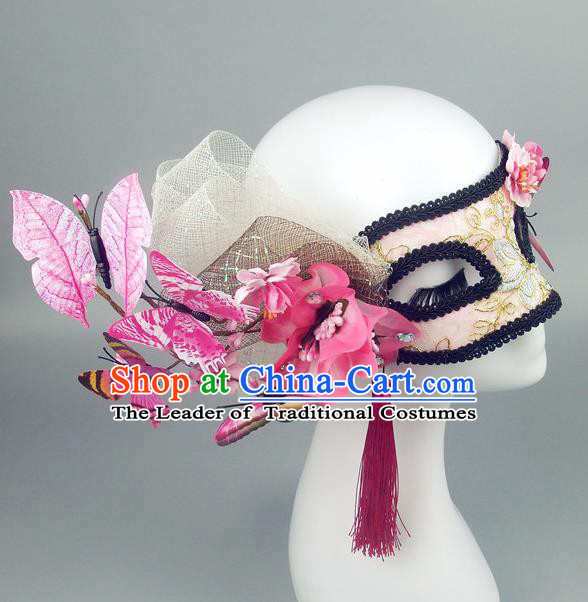 Handmade Halloween Fancy Ball Accessories Pink Butterfly Mask, Ceremonial Occasions Miami Model Show Face Mask