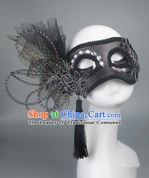 Handmade Halloween Fancy Ball Accessories Black Veil Mask, Ceremonial Occasions Miami Model Show Face Mask