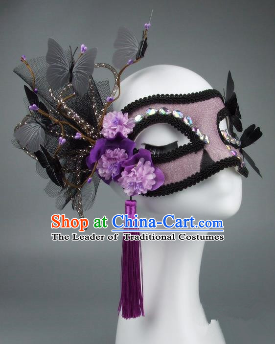 Handmade Halloween Fancy Ball Accessories Veil Butterfly Purple Flower Mask, Ceremonial Occasions Miami Model Show Face Mask