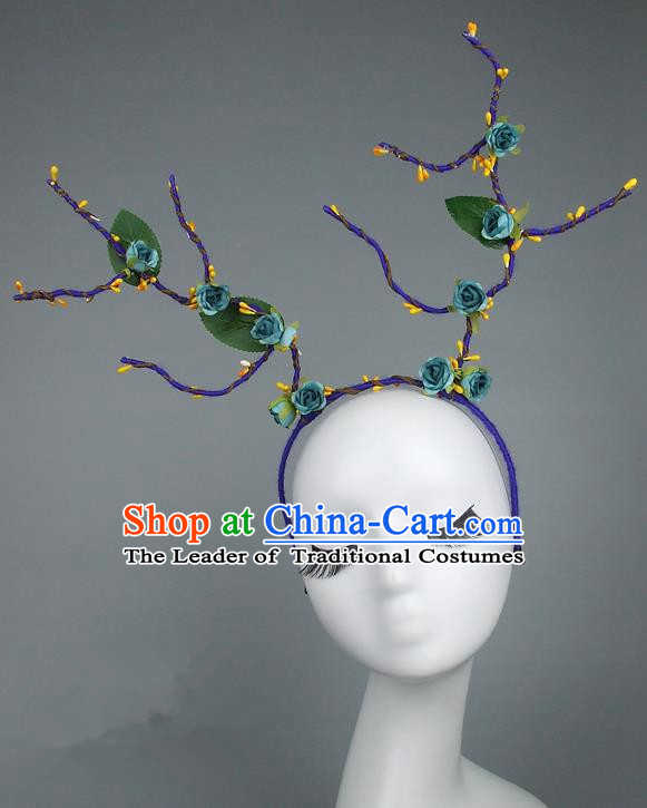 Handmade Halloween Fancy Ball Hair Accessories Green Flowers Headwear, Ceremonial Occasions Miami Model Show Headdress