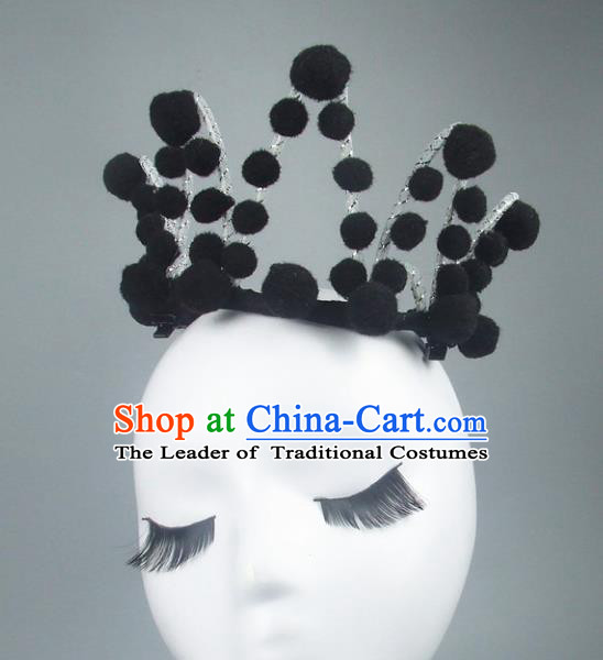 Handmade Halloween Fancy Ball Hair Accessories Black Royal Crown Headwear, Ceremonial Occasions Miami Model Show Headdress