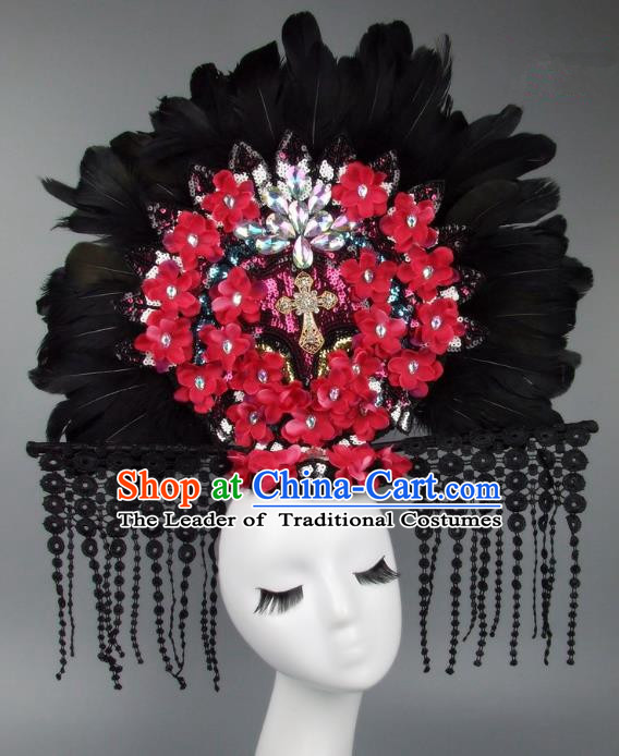 Handmade Asian Chinese Fan Hair Accessories Red Flowers Feather Lace Tassel Headwear, Halloween Ceremonial Occasions Manchu Model Show Headdress