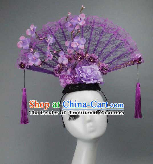 Handmade Asian Chinese Fan Hair Accessories Purple Lace Tassel Headwear, Halloween Ceremonial Occasions Manchu Model Show Headdress