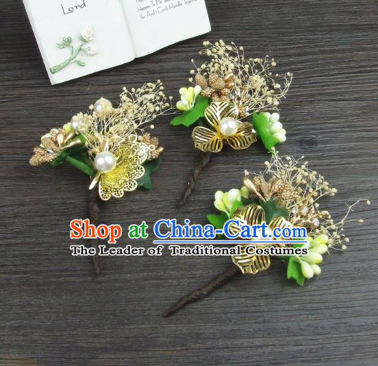 Top Grade Handmade Wedding Hair Accessories Golden Flowers Hair Stick, Baroque Style Bride Headwear for Women