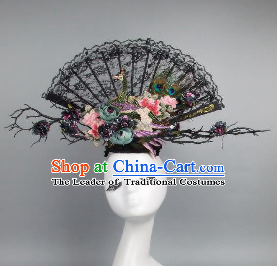 Handmade Asian Chinese Fan Hair Accessories Flowers Black Lace Headwear, Halloween Ceremonial Occasions Manchu Model Show Headdress