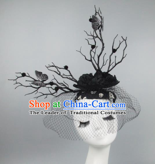 Handmade Exaggerate Fancy Ball Hair Accessories Branch Black Top Hat, Halloween Ceremonial Occasions Model Show Headdress