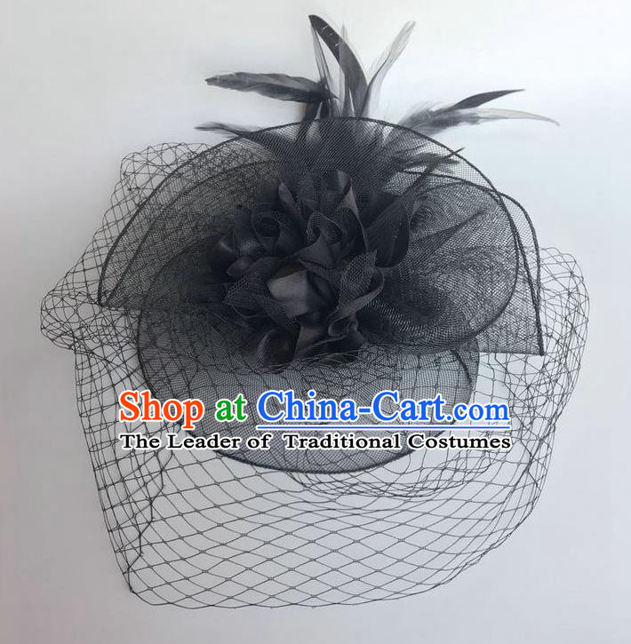 Handmade Vintage Hair Accessories Black Veil Feather Headwear, Halloween Ceremonial Occasions Model Show Headdress