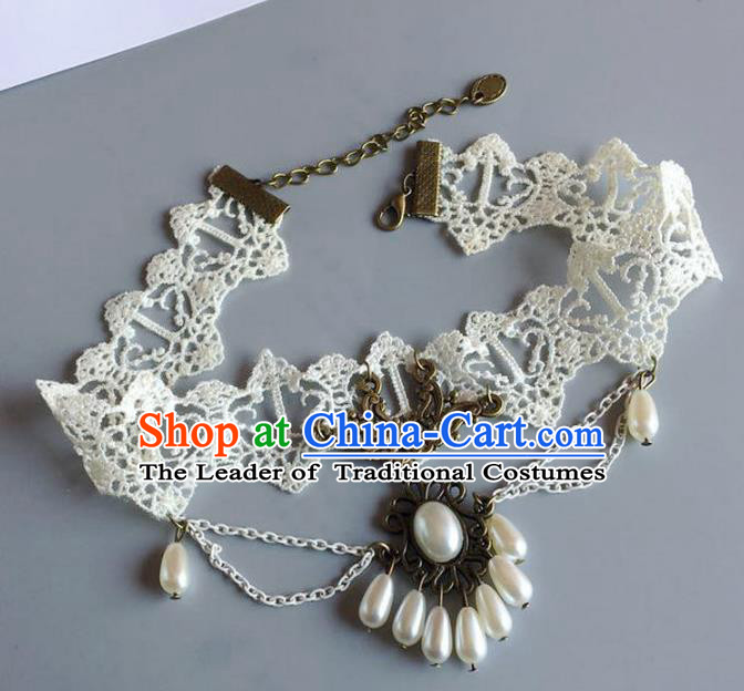 Handmade Wedding Accessories White Lace Pearls Tassel Necklace, Bride Ceremonial Occasions Vintage Necklet for Women