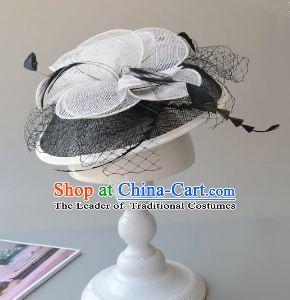 Top Grade Handmade Wedding Hair Accessories White Veil Headwear, Baroque Style Halloween Flowers Top Hat for Women