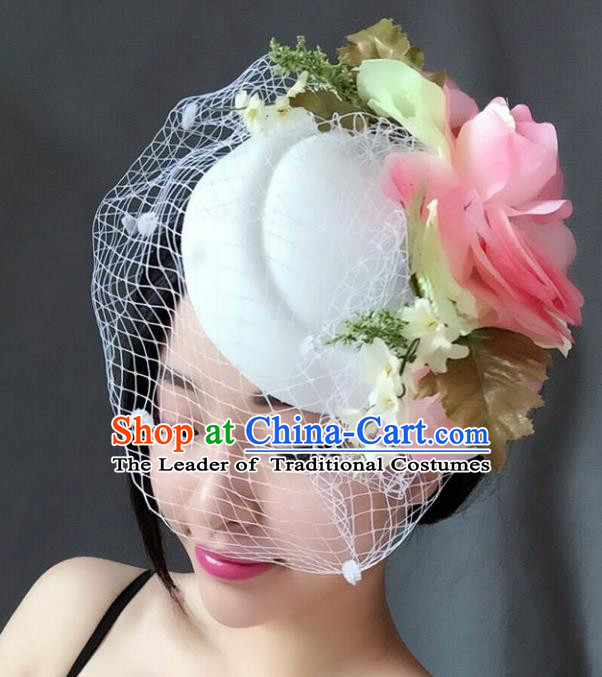 Top Grade Handmade Wedding Hair Accessories White Veil Flowers Headwear, Baroque Style Bride Pearls Top Hat for Women