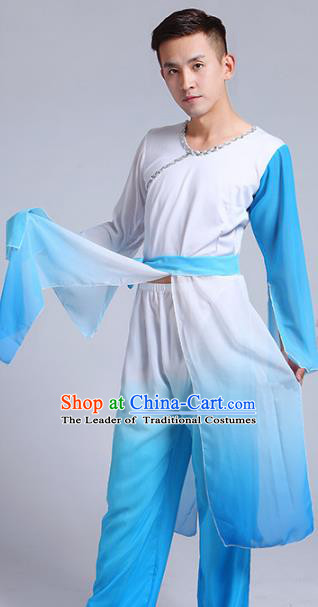 Traditional Chinese Classical Yangge Dance Costume, Folk Fan Dance Uniform Drum Dance Blue Clothing for Men