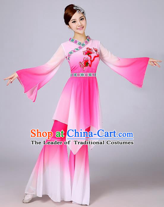 Traditional Chinese Yangge Fan Dance Embroidered Costume, Folk Dance Uniform Classical Dance Mandarin Sleeve Pink Clothing for Women