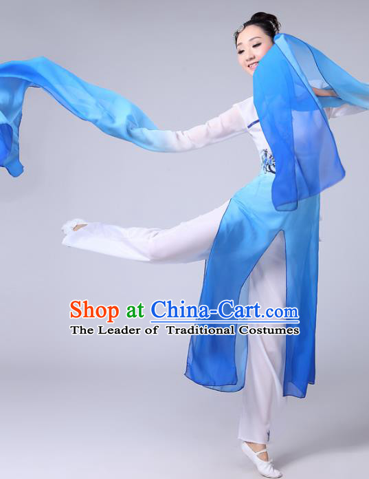 Traditional Chinese Classical Yangge Fan Dance Costume, Folk Dance Uniform Classical Dance Water Sleeve Blue Clothing for Women