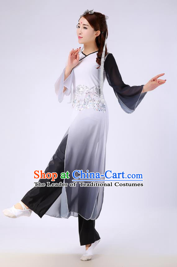 Traditional Chinese Yangge Fan Dance Embroidered Costume, Folk Dance Black Uniform Classical Dance Clothing for Women