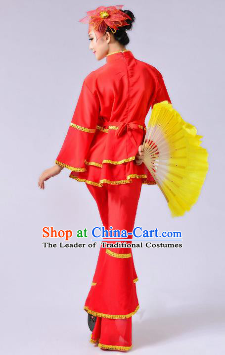 Traditional Chinese Yangge Fan Dance Mandarin Sleeve Costume, Folk Umbrella Dance Uniform Classical Dance Red Clothing for Women
