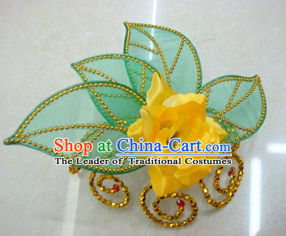 Top Grade Handmade Chinese Folk Dance Hair Accessories, China Yangge Fan Dance Yellow Flower Headwear for Women