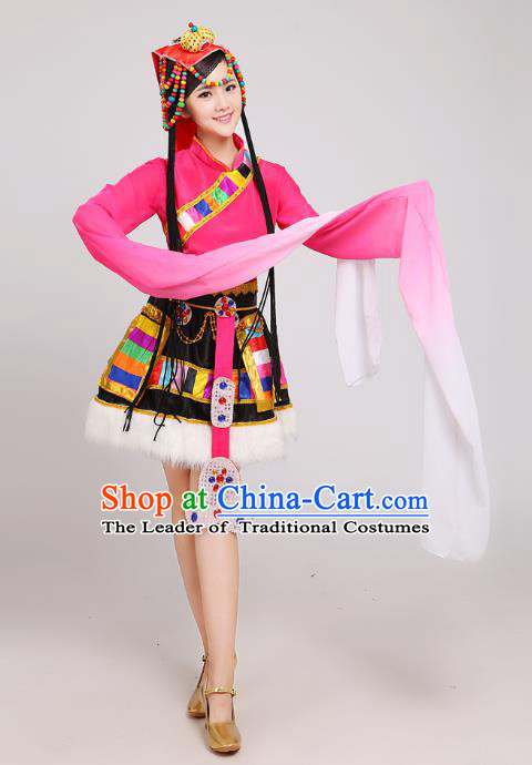 Traditional Chinese Zang Nationality Dance Costume, China Tibetan Minority Embroidery Water Sleeve Pink Dress for Women