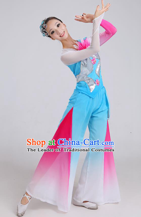 Traditional Chinese Yangge Dance Embroidered Blue Costume, Folk Fan Dance Uniform Classical Umbrella Dance Clothing for Women