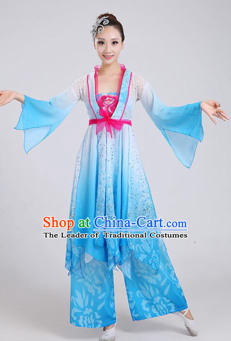 Traditional Chinese Yangge Dance Embroidered Blue Mandarin Sleeve Costume, Folk Fan Dance Uniform Classical Umbrella Dance Clothing for Women