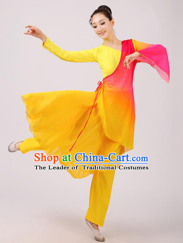 Traditional Chinese Yangge Dance Costume, Folk Fan Dance Yellow Uniform Classical Dance Clothing for Women