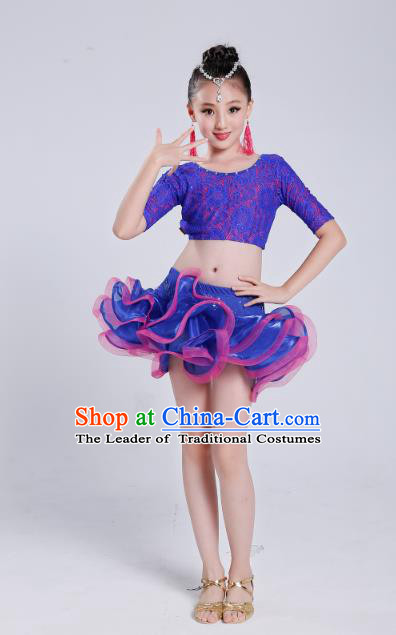 Girls Latin Modern Dance Clothes Children/'s Stage Dancing Costume Tailed Costume