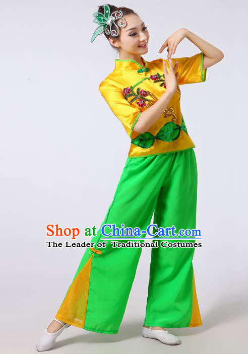 Traditional Chinese Classical Yanko Dance Short Sleeve Costume, Folk Yangge Fan Dance Uniform Waist Drum Dance Clothing for Women