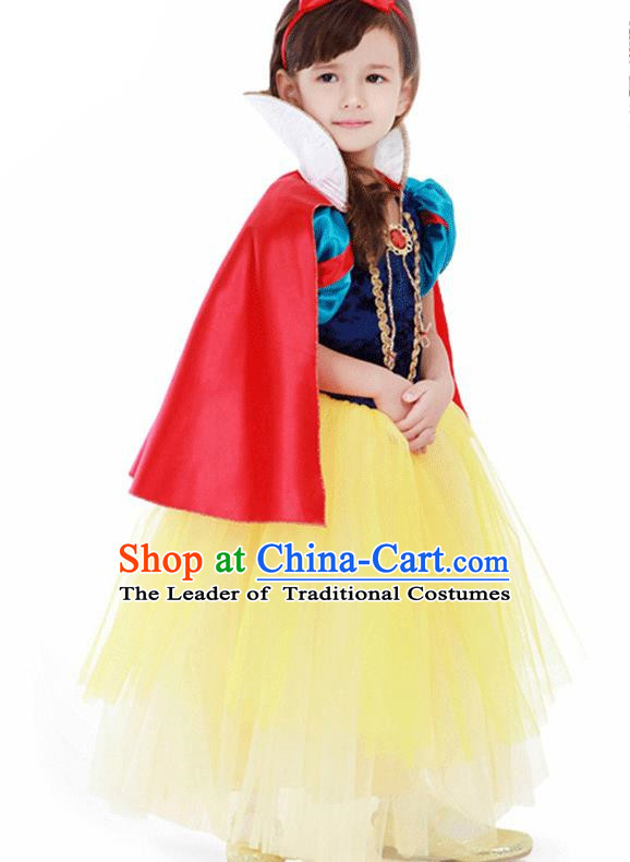 Children Modern Dance Costume Embroidery Christmas Dress, Ceremonial Occasions Performance Princess Veil Full Dress for Girls