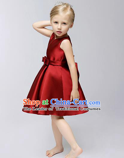Children Modern Dance Flower Fairy Costume, Performance Model Show Clothing Princess Red Short Dress for Girls