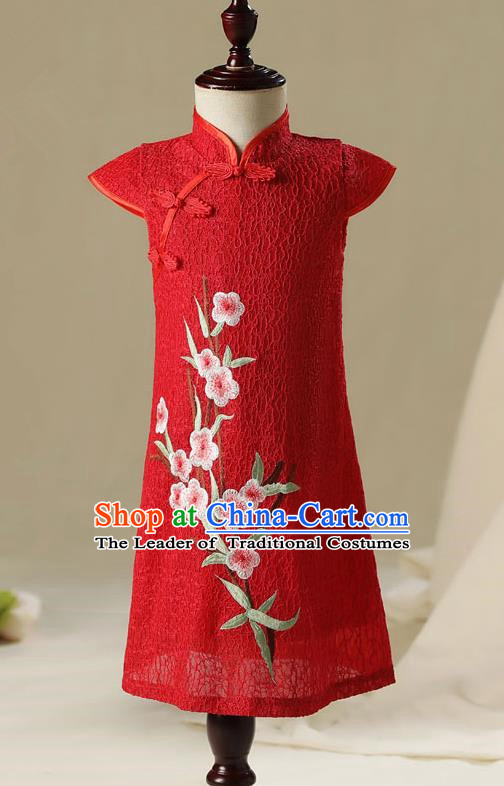 Children China Model Show Dance Costume Red Cheongsam, Ceremonial Occasions Catwalks Princess Qipao for Girls