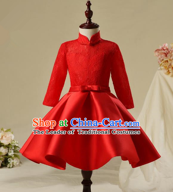 Children Model Show Dance Costume Red Lace Dress, Ceremonial Occasions Catwalks Princess Full Dress for Girls