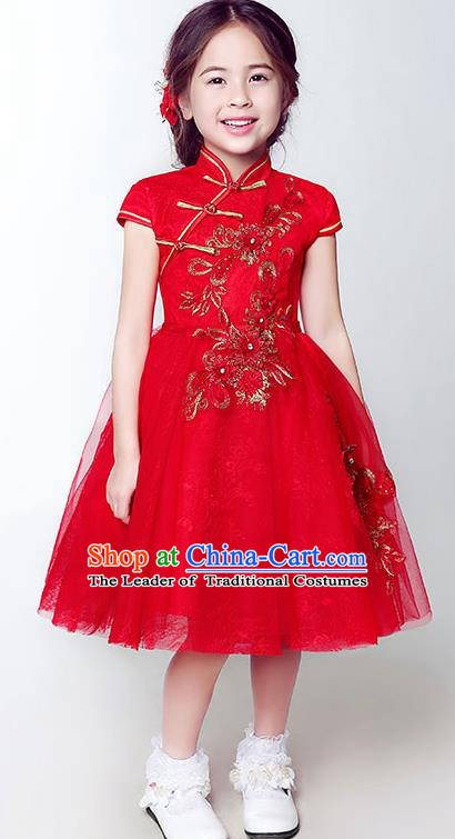 Children Model Show Dance Costume Red Beading Cheongsam, Ceremonial Occasions Catwalks Princess Full Dress for Girls