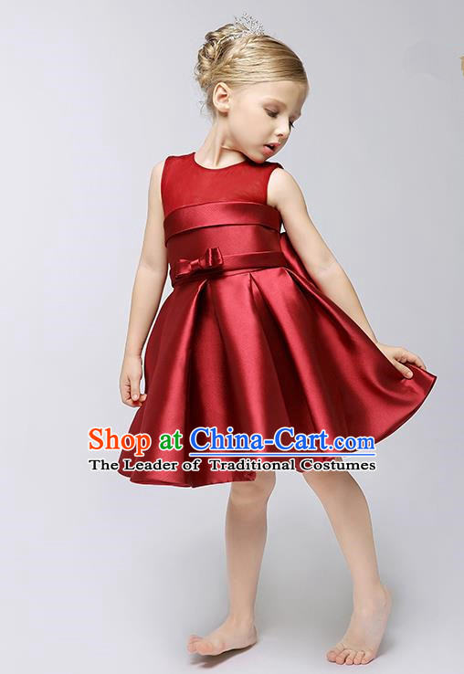 Children Model Show Ballet Dance Costume Wine Red Satin Dress, Ceremonial Occasions Catwalks Princess Full Dress for Girls