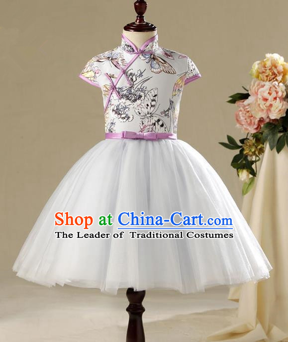 Children Model Show Ballet Dance Costume China Cheongsam, Ceremonial Occasions Catwalks Princess Full Dress for Girls