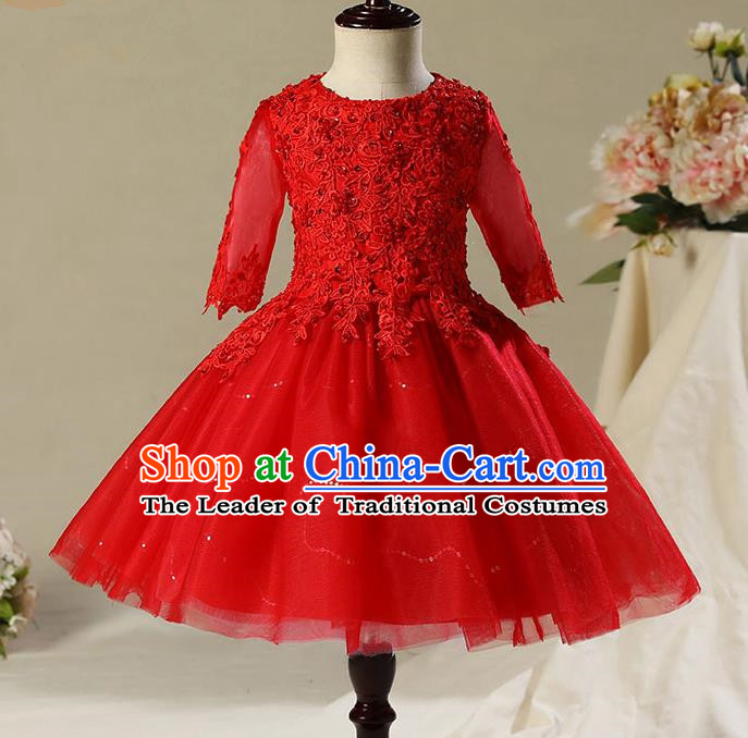 Children Model Dance Costume Compere Red Veil Short Evening Dress, Ceremonial Occasions Catwalks Princess Embroidery Dress for Girls