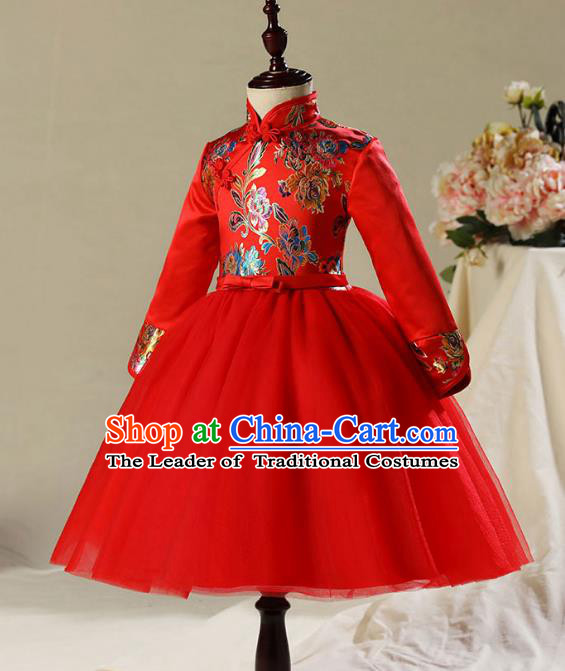 Children Model Dance Costume Compere Red Cheongsam Dress, Ceremonial Occasions Catwalks Princess Embroidery Dress for Girls