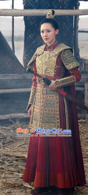 Asian China Northern and Southern Dynasties Female General Armour Costume and Headpiece Complete Set