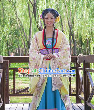 Traditional Ancient Chinese Palace Lady Costume, Asian Chinese Tang Dynasty Princess Embroidered Dress Clothing for Women