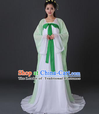 Asian China Ancient Tang Dynasty Palace Lady Costume, Traditional Chinese Princess Hanfu Embroidered Light Green Dress Clothing for Women