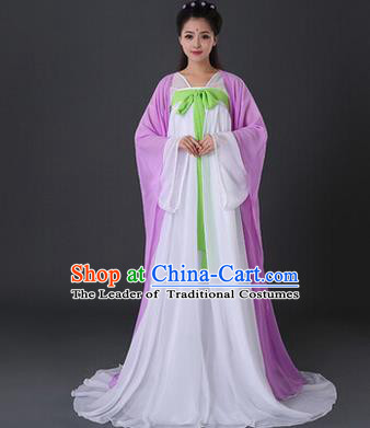 Asian China Ancient Tang Dynasty Palace Lady Costume, Traditional Chinese Princess Hanfu Embroidered Purple Dress Clothing for Women